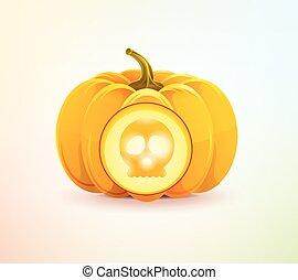 Halloween pumpkin with skull shining from inside