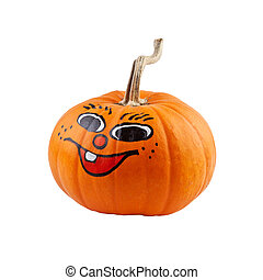 Halloween pumpkin with smile isolated on white