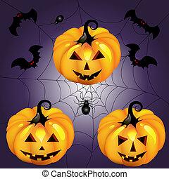 Halloween pumpkin with spider