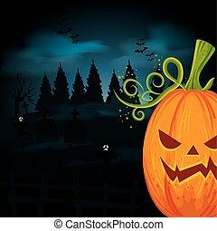 halloween pumpkin with tombs in dark night