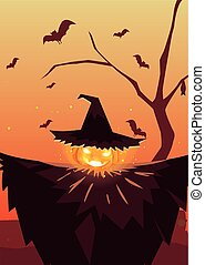 halloween pumpkin with witch hat in cemetery scene