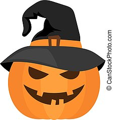 Halloween pumpkin with witch hat vector - Smiling orange...