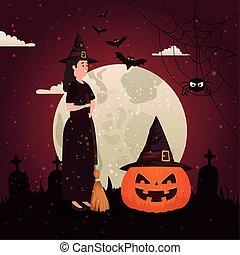 halloween pumpkin with witch in dark night