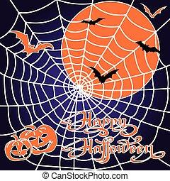 Halloween pumpkins and bats on spiderweb background.
