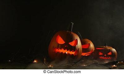 Halloween pumpkins and candles - Halloween pumpkin lanterns...