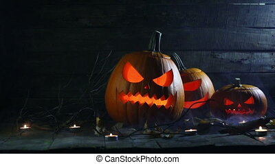 Halloween pumpkins and candles - Halloween pumpkins candles ...