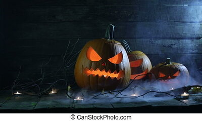 Halloween pumpkins and candles - Halloween pumpkins head...