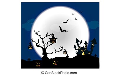 Halloween pumpkins and dark castle