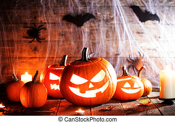 Halloween pumpkins and spiders