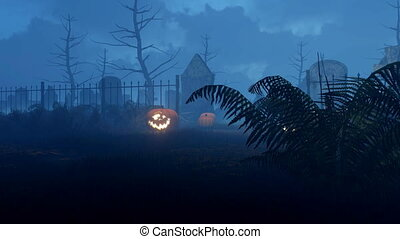 Halloween pumpkins at scary night graveyard 4K -...