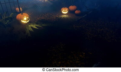 Halloween pumpkins at scary night cemetery 4K -...