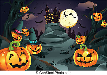 Halloween pumpkins background - A vector illustration of...