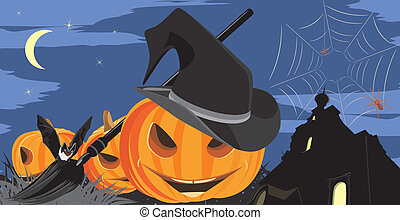 Halloween pumpkins, bat and spiders on the background of ...