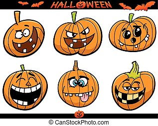halloween pumpkins cartoon set - Cartoon Illustration of...