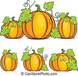 Halloween pumpkins - Yellow pumpkins witn green leaves,...