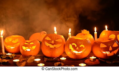 Halloween pumpkins closeup - Halloween pumpkins with candles...