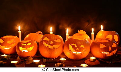 Halloween pumpkins closeup - Halloween pumpkins with candles...
