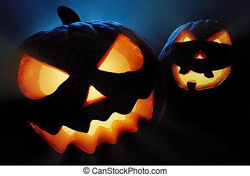 Halloween pumpkins closeup - jack o'lantern - Halloween...