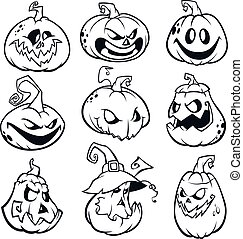 Halloween Pumpkins curved with jack o lantern face. Vector ...
