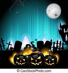 Halloween pumpkins in the cemetery