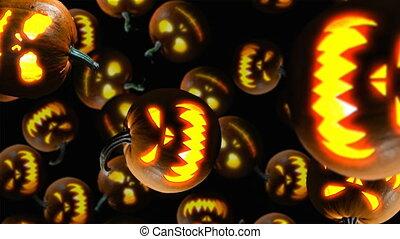 Halloween pumpkins falling down on black background. 4k...