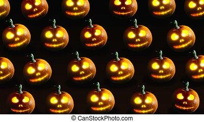 Halloween pumpkins - Group of Halloween Jack o Lanterns on...