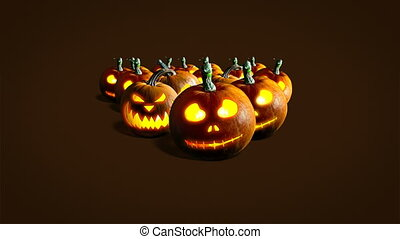 Halloween pumpkins - Group of Halloween Jack o Lanterns on ...
