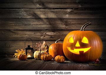 Halloween Pumpkins - Halloween pumpkin head jack lantern on...