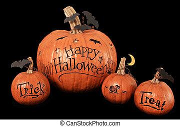 Halloween pumpkins - Happy Halloween, trick or treat,...