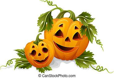 halloween pumpkins - Vector illustration - two halloween...