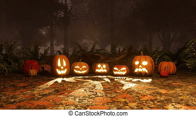 Halloween pumpkins in autumn forest at misty night - A few...