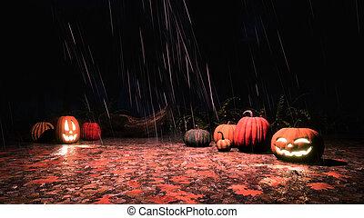 Halloween pumpkins in autumn forest at rainy night -...