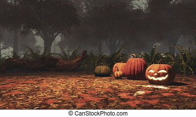 Halloween pumpkins in foggy autumn forest at dusk -...
