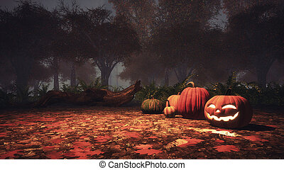 Halloween pumpkins in haunted forest at misty dusk -...