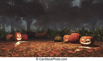 Halloween pumpkins in misty autumn forest at dusk -...