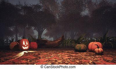 Halloween pumpkins in spooky autumn forest at dusk -...