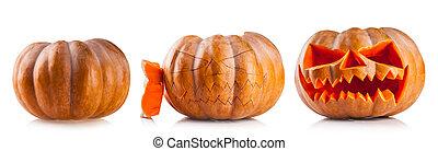 Halloween pumpkins isolated on white backgroun