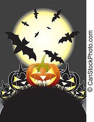 Halloween pumpkins, Jack of the Lantern on night background with a moon, EPS10