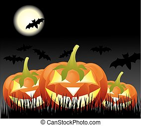 Halloween pumpkins, Jack of the Lantern on night background with a moon