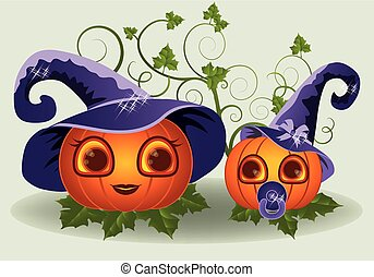 Halloween pumpkins mother and child
