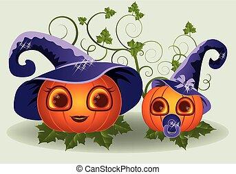 Halloween pumpkins mother and child