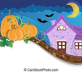 Halloween pumpkins near the brick house