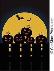 Halloween pumpkins on a fence in the background of the moon