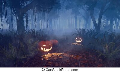 Halloween pumpkins on scary night forest path