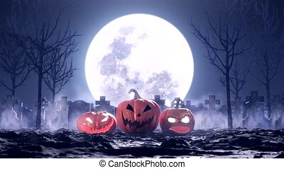 Halloween pumpkins on the background of the cemetery and the moon