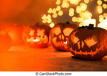 Halloween pumpkins on the table