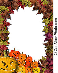halloween pumpkins on white background with fall leaves frame