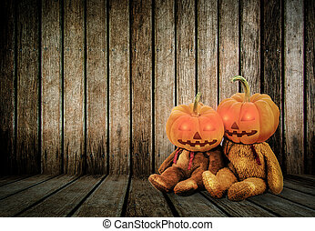 Halloween Pumpkins on wood background