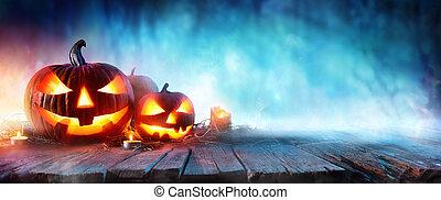 Halloween Pumpkins On Wood