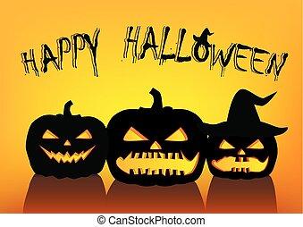 halloween pumpkins silhouettes on the yellow orange background, horizontal